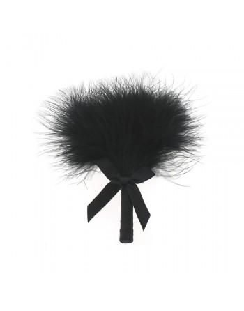 Plumeau noir sur tige avec noeud en satin noir