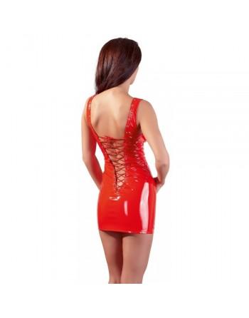 Robe en Vinyle Rouge avec Laçage - L