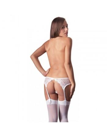 Porte Jarretelles blanc en dentelle et bas blancs M-L
