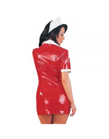 Tenue Rouge en Vinyle Look Infirmiere - XXL