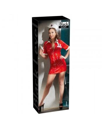 Tenue Rouge en Vinyle Look Infirmiere - XL