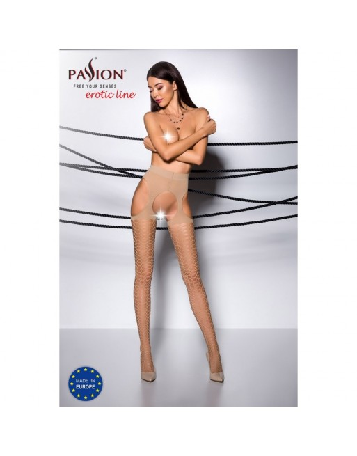 Collant Ouvert Beige TI004 - T 1/2