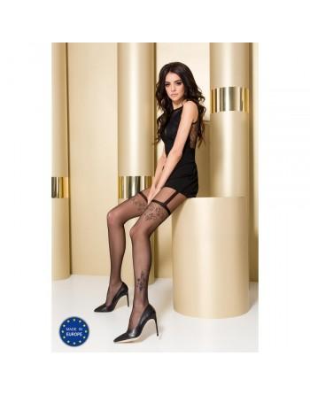 Collant Noir Effet Porte Jarretelles TI0108 T 1/2