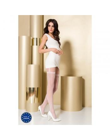 Collant Blanc Effet Porte Jarretelles TI0108 T 3/4