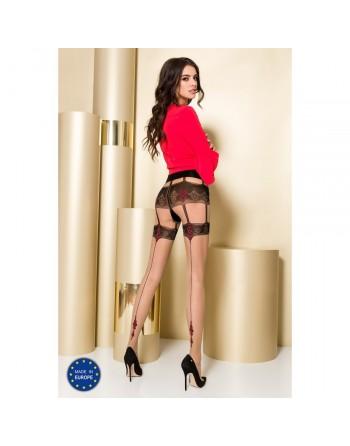 Collant Noir et Rouge Effet Porte Jarretelles TI0103 T 3/4